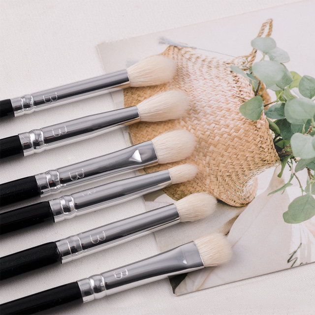 BEILI 8pcs Classic Black Pro makeup brushes Goat synthetic Hair Eye shadow Brow Blending smoky Makeup Brush Set 3