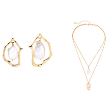 Simple Imitation Pearls Jewelry Sets Gold Color Irregular Drop Earring Double Layered Pendant Necklace For Women Fashion Jewelry stylish women s arrow irregular triangle pendant layered necklace