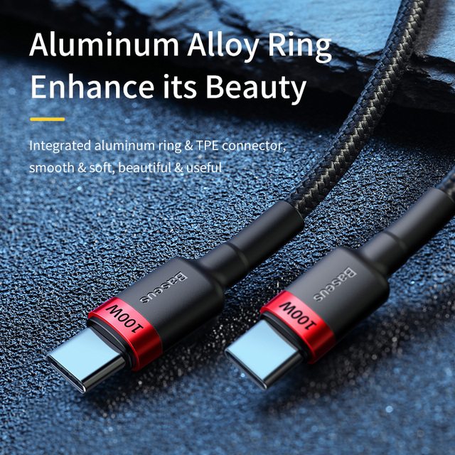 Baseus 100W USB C To USB Type C Cable USBC PD Fast Charger Cord USB-C Type-c Cable For Xiaomi mi 10 Pro Samsung S20 Macbook iPad 2