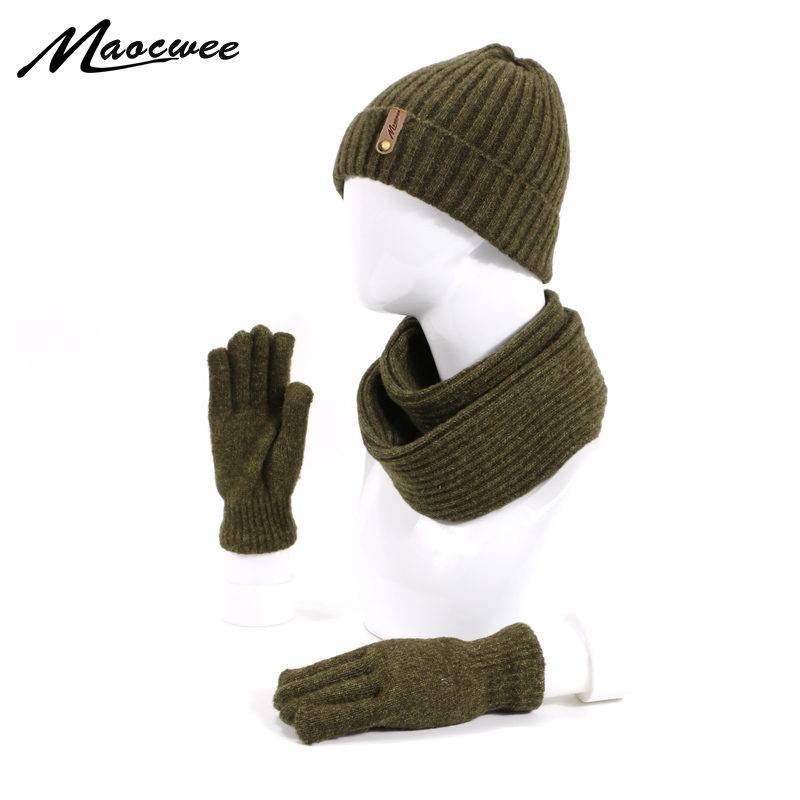 Hats Scarf Gloves Women's Hat Winter Knitting Hat Women's Autumn Winter Wool Cap Fashion Winter Three-piece Men's Hat Outdoor