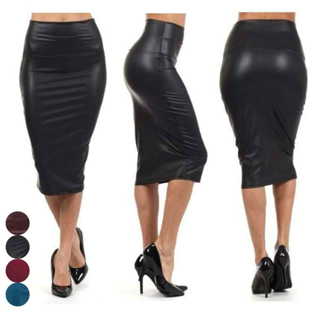 Hot Sale 2019 Women High Waist Faux Leather Pencil Skirt Bodycon Skirt Solid Color Sexy Wild OL Office Bag Hip Skirts Female