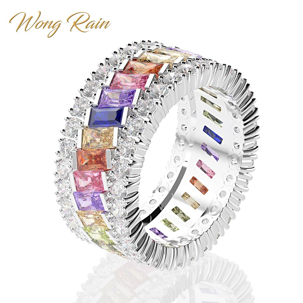 Wong Rain Luxury 100% 925 Sterling Silver Created Moissanite Gemstone Birthstone Wedding Engagement Ring Fine Jewelry Wholesale