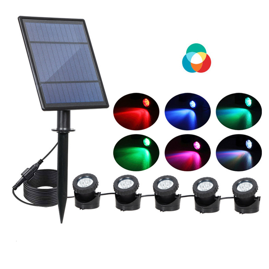 Thrisdar Underwater Solar Light Waterproof IP68 RGB Submersible Spot Light For Swimming Pool Fountains Pond Aquarium Lamps