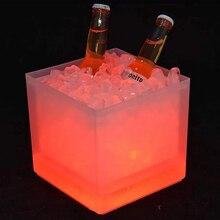 Новейший бар KTV пластиковое электронное ведро для льда светодиодный Светодиодный светящееся ведерко для льда Двухслойное экологически чистое квадратное ведро для льда