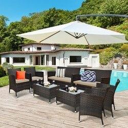 Costway 8 Uds de ratán de juego de muebles para Patio acolchado sofá Silla de café Mesa mesa de jardín de