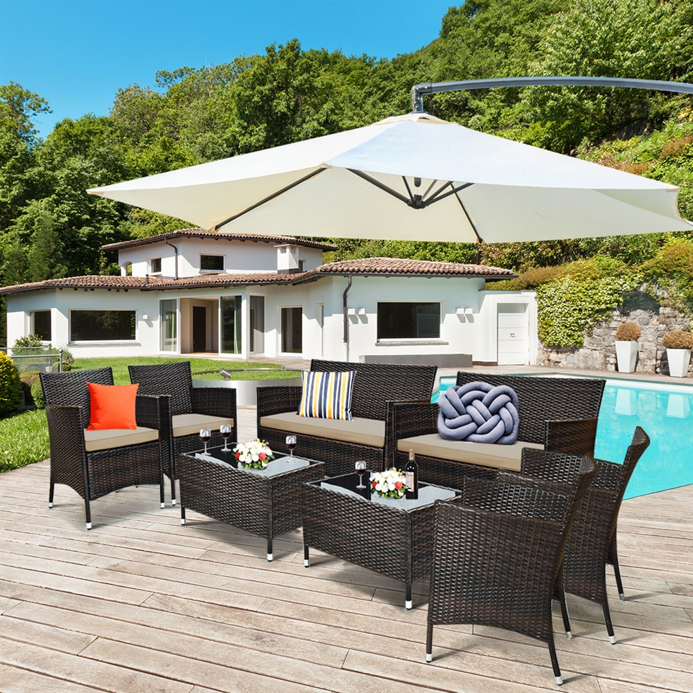 Costway 8PCS Rattan Patio Furniture Set Cushioned Sofa Chair Coffee Table Garden