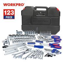 WORKPRO conjunto de herramientas de reparación de automóviles, kit de herramientas mecánicas, juego de llaves de carraca, nuevo diseño, 123 piezas, 2019