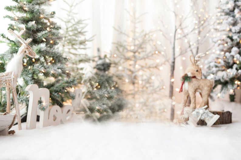 Paillettes noël toile de fond noël rustique blanc neige pin arbre elk Photo fond pour enfants famille portrait photo Studio Prop ES38