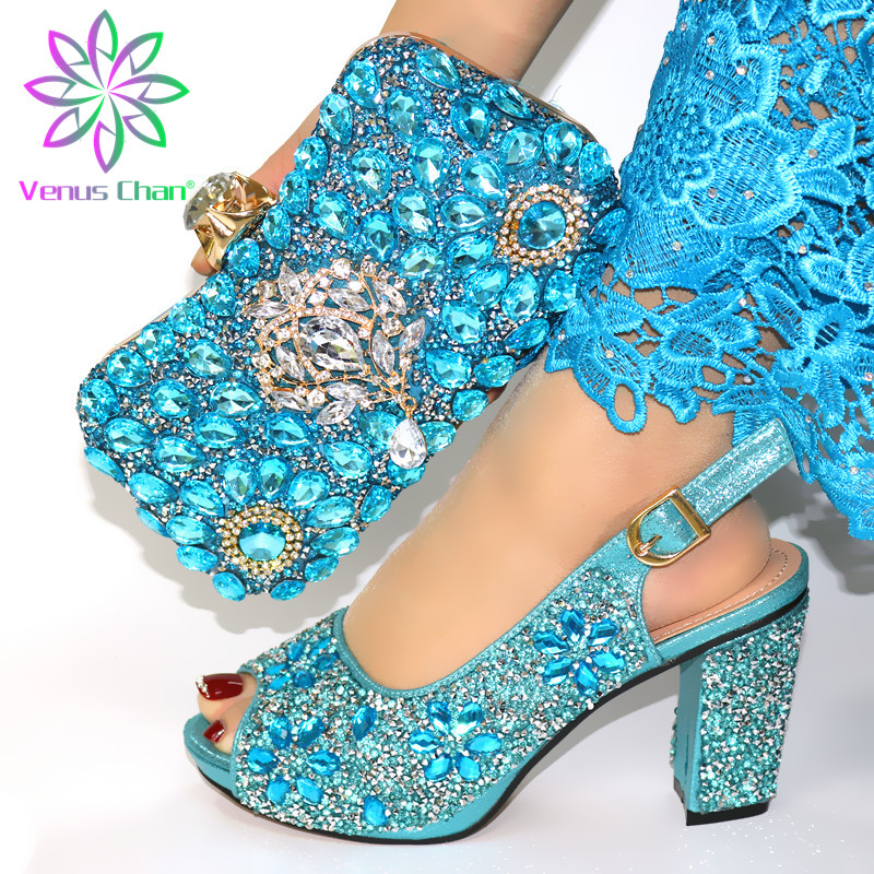 New Shoe and Matching Bag for Nigeria Party Slip on Shoes for Women Ladies Italian Shoes and Bag Set Decorated with Rhinestone