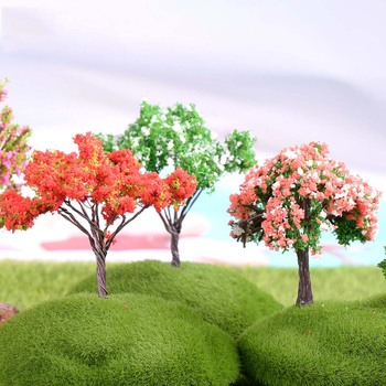Plastic Mini Simulation Trees Kawaii Willow Sakura Mini Home Decoration Garden Microlandscape Miniatures Figurines 1