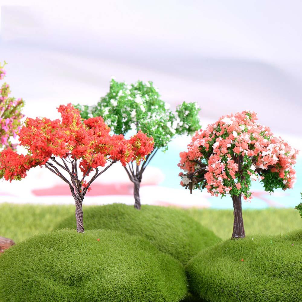 Plastic Mini Simulation Trees Kawaii Willow Sakura Mini Home Decoration Garden Microlandscape Miniatures Figurines