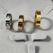 Anillos mujer anel de pedra de aço inoxidável anel de pedra de cor de ouro rosa para mulheres