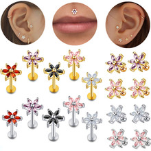 Surgical Steel Crystal Flower Tragus Piercing Earring 16GZircon Lip Piercing Labret Stud Cartilage Piercing Conch Smal Ear Stud