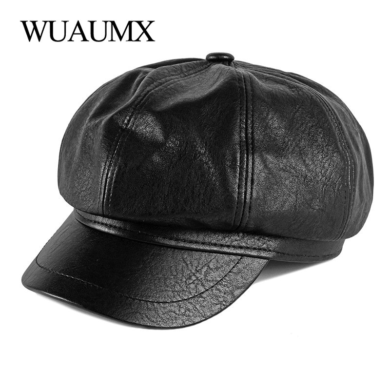 Wuaumx Solid PU Leather Octagonal Hats For Women Autumn Winter Newsboy Caps Female Artist Painter Caps Casual Visors Chapeau