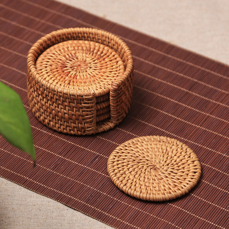 1pc Vietnam Autumn rattan coasters  mat Tea ceremony tea set iron pot heat insulation pad raised cushion purple sand  holder
