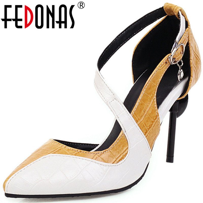 FEDONAS 2020 Sexy Women Night Club Party Shoes Color Matching Slip On Shoes Highe Heeled Rhinestone Fashion New Shoes Woman