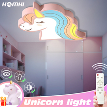 Unicorn kids room light led ceiling lights with remote control cartoon lampshade children cute lamp deco child
