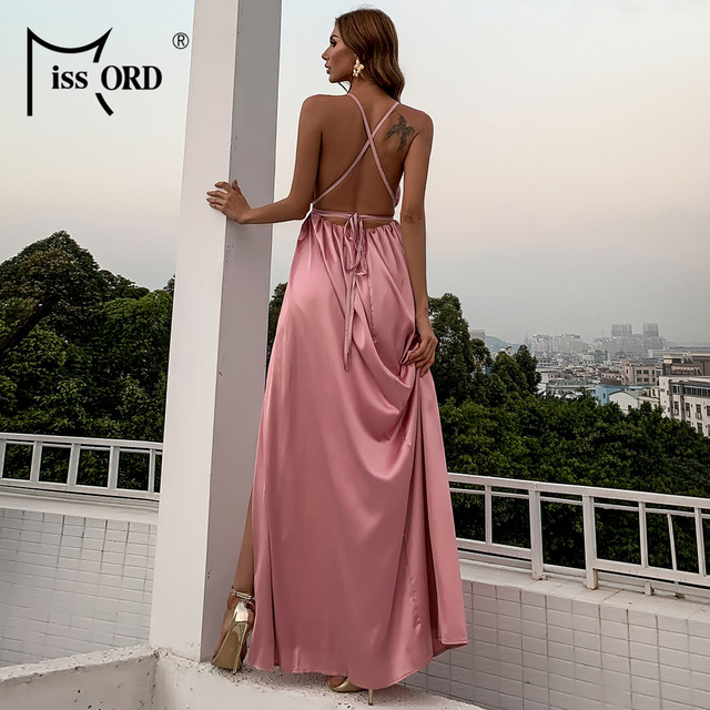 Missord Summer Female V-neck Backless Evening Party Dress High Split Backless Holiday Beach Dresses Sexy Maxi Dress FT2462 4