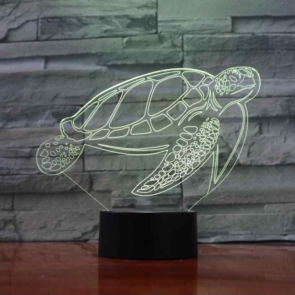 Creative เต่า 3D ภาพโคมไฟเต่าทะเลตารางโคมไฟ RGB นอนเด็ก 3D Night Light บรรยากาศโคมไฟเปลี่ยนของเล่นเด็ก 1902