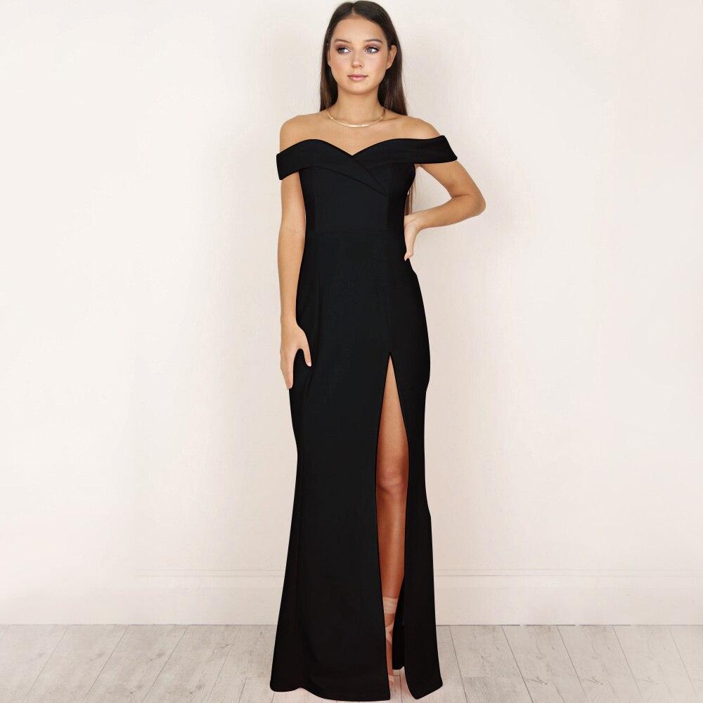 Hot Women's Off Shoulder Dresses Casual Long Maxi Evening Party Beach Long Dress Solid Pink Black V-neck Summer Costume D30