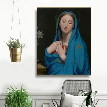 Laeacco Saint Mary By Ingres Canvas Painting Calligraphy Posters and Prints Wall Art Pictures for Living Room Home Decor image