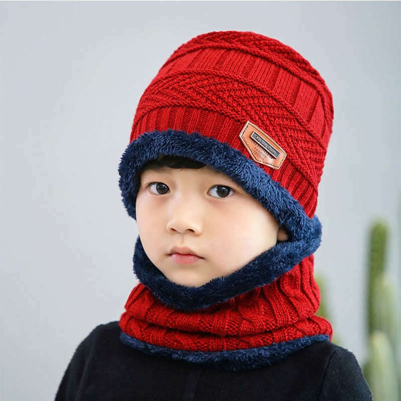 Новая модная Высококачественная зимняя детская вязаная шапка, шарф, комплект из 2 предметов, Детские утепленные бархатные шапочки, теплая шапка для мальчиков и девочек - Цвет: Red