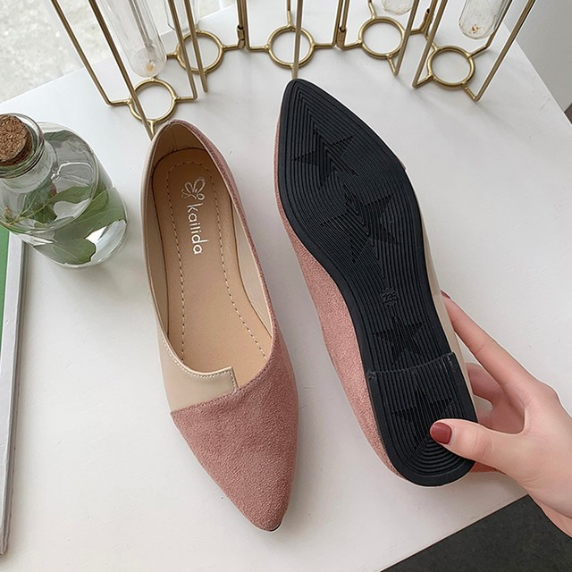 2020 New Flat Shoes Women Sweet Flats Shallow Women Boat Shoes Slip on Ladies Loafers Spring Women Flats Pink Platform Shoes 2