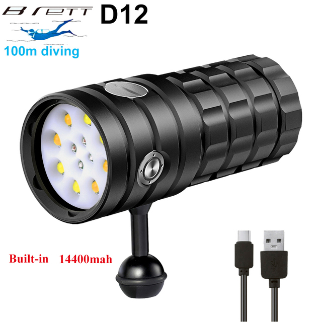 NEW LED Diving Flashlight 8 XHP50 25000Lumens Underwater 100m Waterproof Photography Tactical Diving Light Camera Video Torch 1
