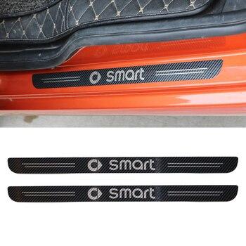 2 ชิ้นสแตนเลสสตีลประตู Trim สำหรับ Smart Fortwo 453 451 ตกแต่งป้องกันสติกเกอร์รถยนต์การปรับเปลี่ยนอุปกรณ์...
