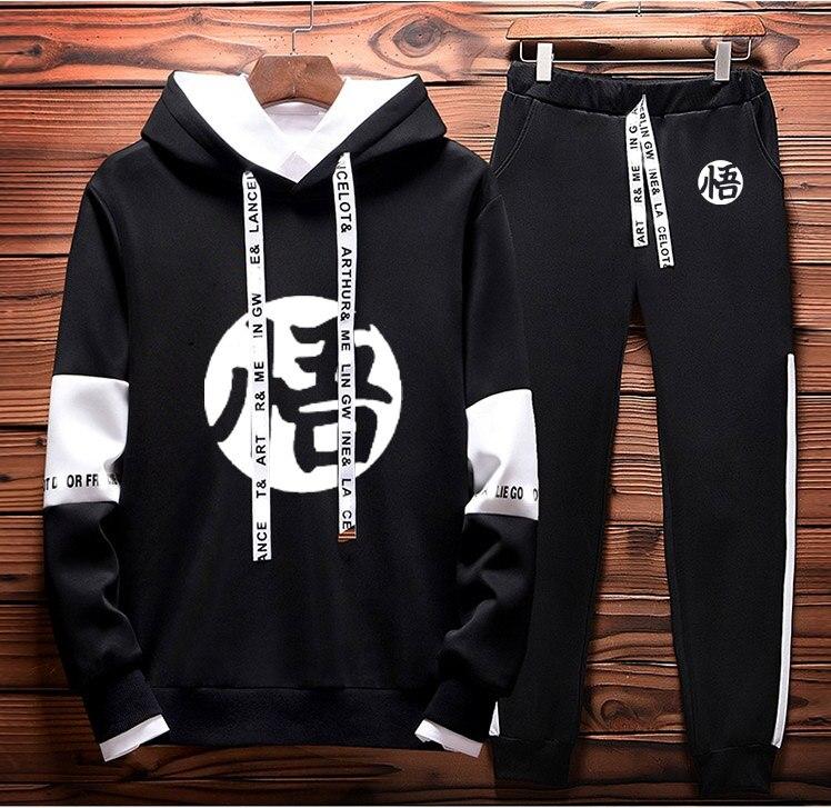 Anime Dragon Ball Z Goku Hoodies Men Casual Sweatshirt Fashion Streetwear +Pants 2Pcs Sporting Suit Fleece Warm Thick Sportwear