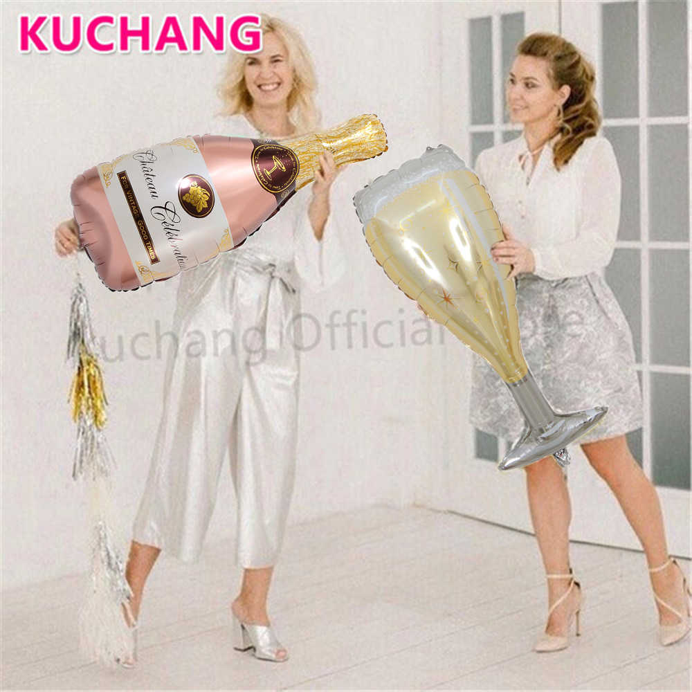 2pcs Large Size Champagne Cup Bottle Aluminium Foil Balloons Wedding Birthday Party Decorations Anniversary Baby Shower Balloons
