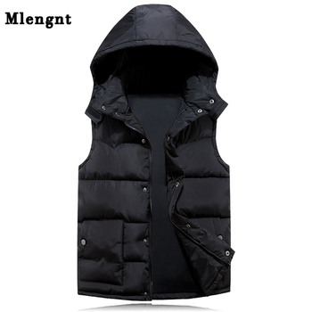 Cotton Hoodie Vest For Men 2019 Winter Warm Thick Casual Windbreaker Kids 3 Colors Red Sleeveless Jacket Male Classic Waistcoat