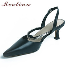 Meotina Genuine Leather Mid Heel Sandals Crystal Women Shoes Pointed Toe Stiletto Heels Footwear Ladies Summer Sandals White 40 meotina sandals women cross strap high heel shoes pointed toe stiletto heels dress ladies sandals summer black large size 43