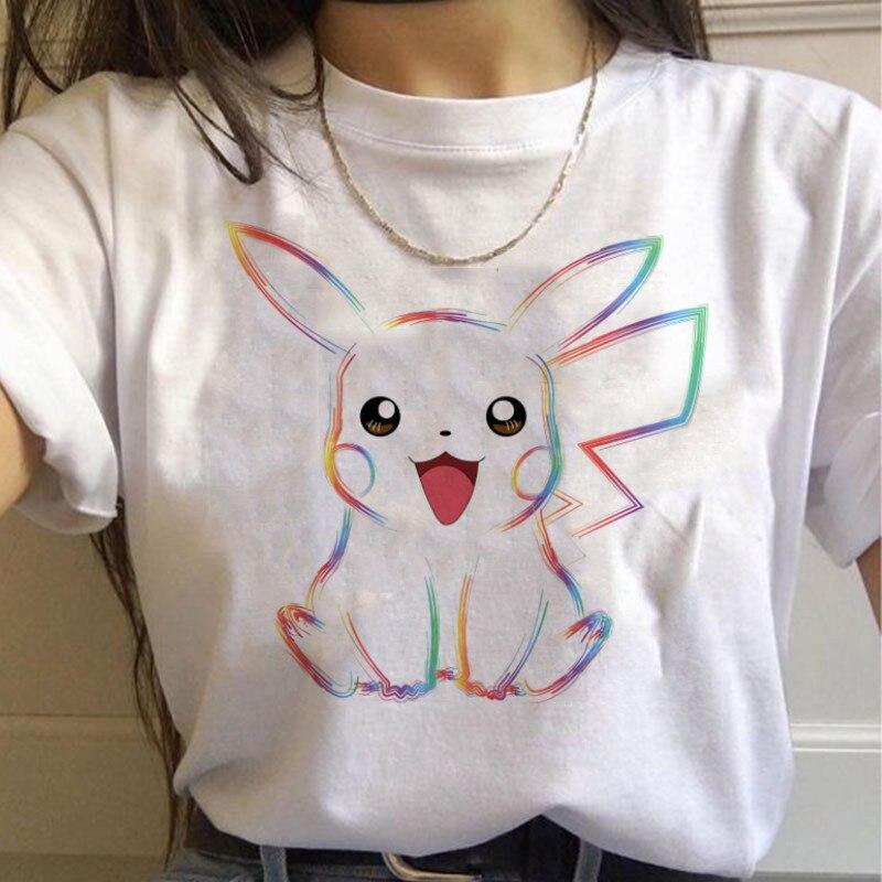 Pokemon T-shirt Women Pikachu Cartoon Anime T-shirt Funny Harajuku Vintage Streetwear Clothing T-shirt Casual Cute T-shirt Woman