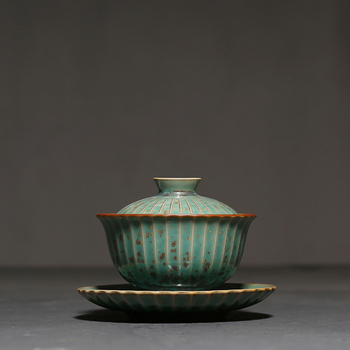 100ml Green Glaze Kiln Change Gaiwan Vintage Ceramic Kung Fu Tea Bowls Master Cup Pu'er Tea Tureen Tea Cup Teapots Bowl with Lid
