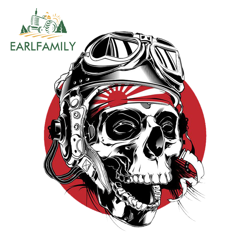 EARLFAMILY 13cm x 10.8cm Skull Head Skull Vinyl Glue Sticker Laptop Travel Luggage Vinyl Decal Car Stickers Accessories