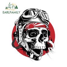 EARLFAMILY 13cm x 10.8cm Skull Head Vinyl Glue Sticker Laptop Travel Luggage Decal Car Stickers Accessories