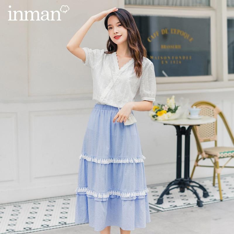 INMAN 2020 Summer New Arrival Artsy Elegant Style Tassel Patchwork Elastic Waist Full Skirt
