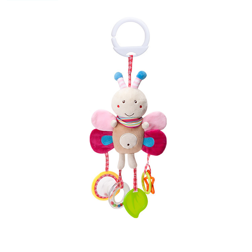 Baby Cute Animal Wind Chime Toy Plush Bed Trailer Hanging Toys Baby Plush Stuffed Rattle Mobile Infant Educational Bed Bell Gift
