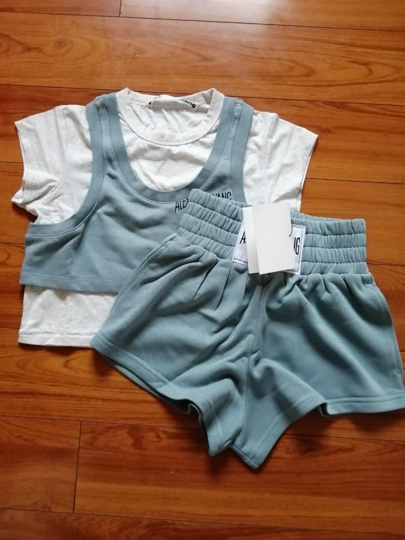 Fake Two T-shirt Women Sportswear Suit Elastic Shorts A2