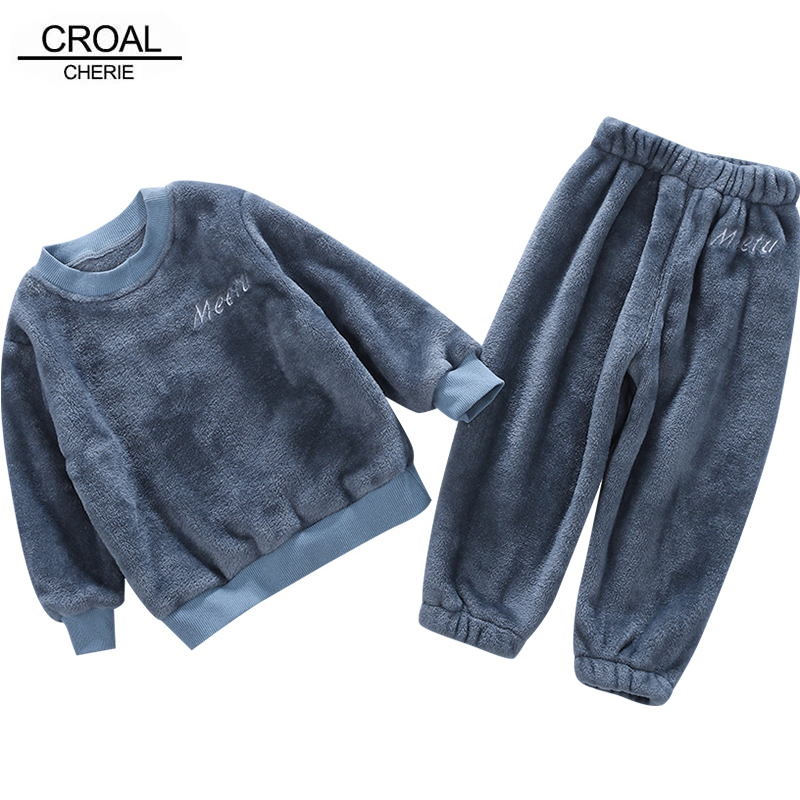 CROAL CHERIE Winter Warm Fleece Pajamas Fleece Tops + Pants Children's Sleeping Clothes Sets Kids Girls Boys Home Clothing Sets