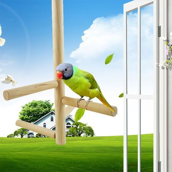Bird Perch, Parrot Birdcage Stand Natural Toys Natural Wooden Activity Branches Climbing Stairs for Conure Parakeet Budg image