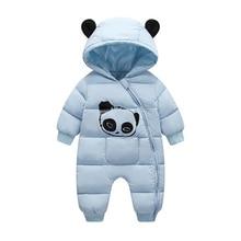 Милый детский зимний комбинезон с капюшоном с пандой; теплая одежда из плотного хлопка; комбинезон для новорожденных; комбинезон; детский зимний комбинезон; Одежда для мальчиков; CL2092