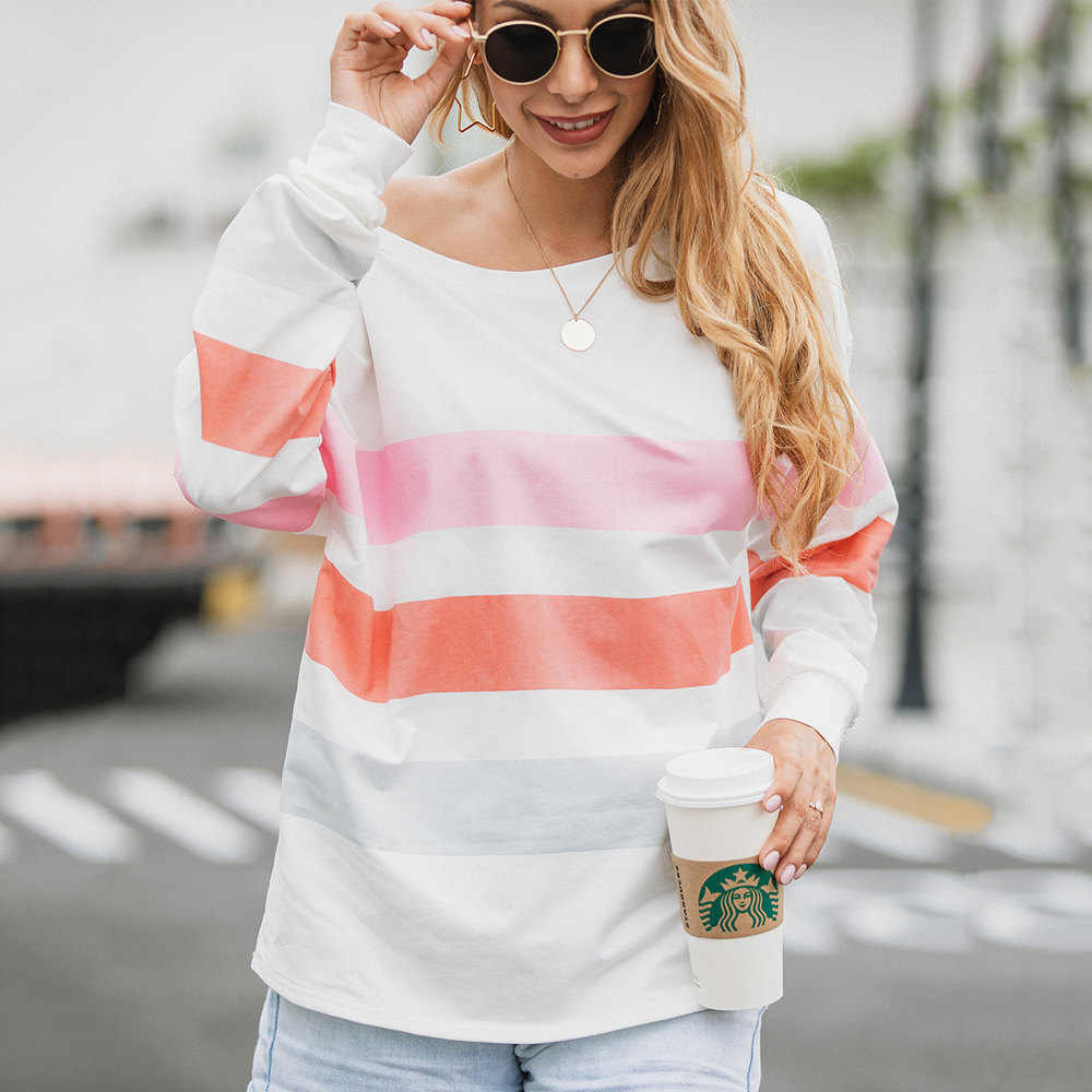 Осенняя одежда уличная элегантные полосатые тонкие толстовки