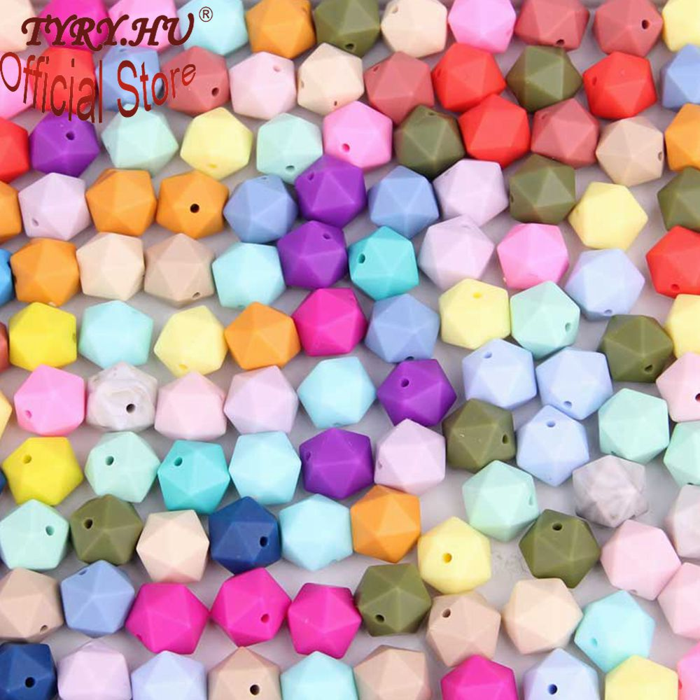 TYRY.HU 10 Pieces Silicone Beads 14 Mm  Icosahedron Teething Beads Baby Teether DIY Pacifier Chain Baby Gift Toy Food Grade