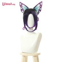 L-email парик Demon Slayer Shinobu Kochou Косплей парики Kimetsu no Yaiba Косплей Фиолетовый градиентный парик термостойкие синтетические волосы