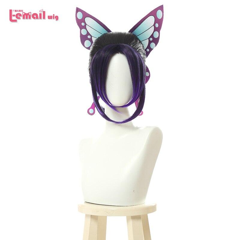 L-email Wig Demon Slayer Shinobu Kochou Cosplay Wigs Kimetsu No Yaiba Cosplay Purple Gradient Wig Heat Resistant Synthetic Hair