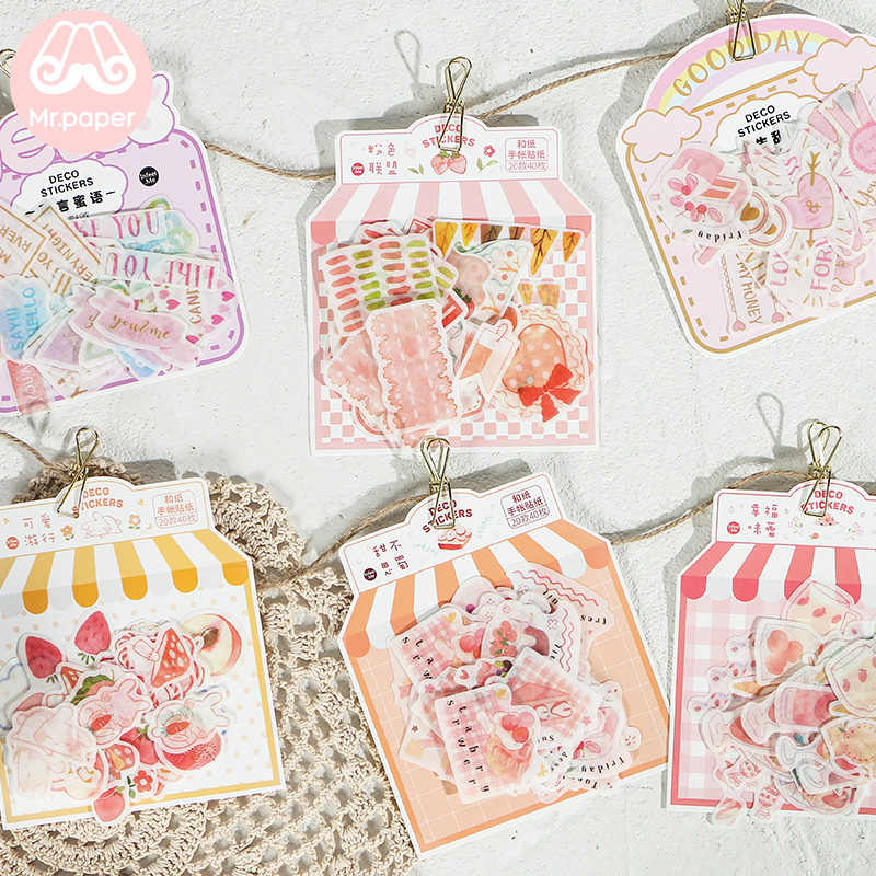 Mr Kertas 40 Buah/Bungkus Pink Sweet Heart Lezat Strawberry Scrapbooking Stiker Bullet Journal Dekoratif Alat Tulis Stiker
