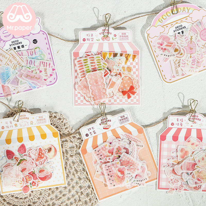 Mr.paper 40Pcs/pack Pink Sweet Heart Delicious Strawberry Scrapbooking Stickers Bullet Journal Decorative Stationery Stickers