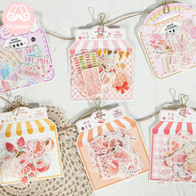 M 40Pcs/pack Pink Sweet Heart Delicious Strawberry Scrapbooking Stickers Bullet Journal Decorative Stationery